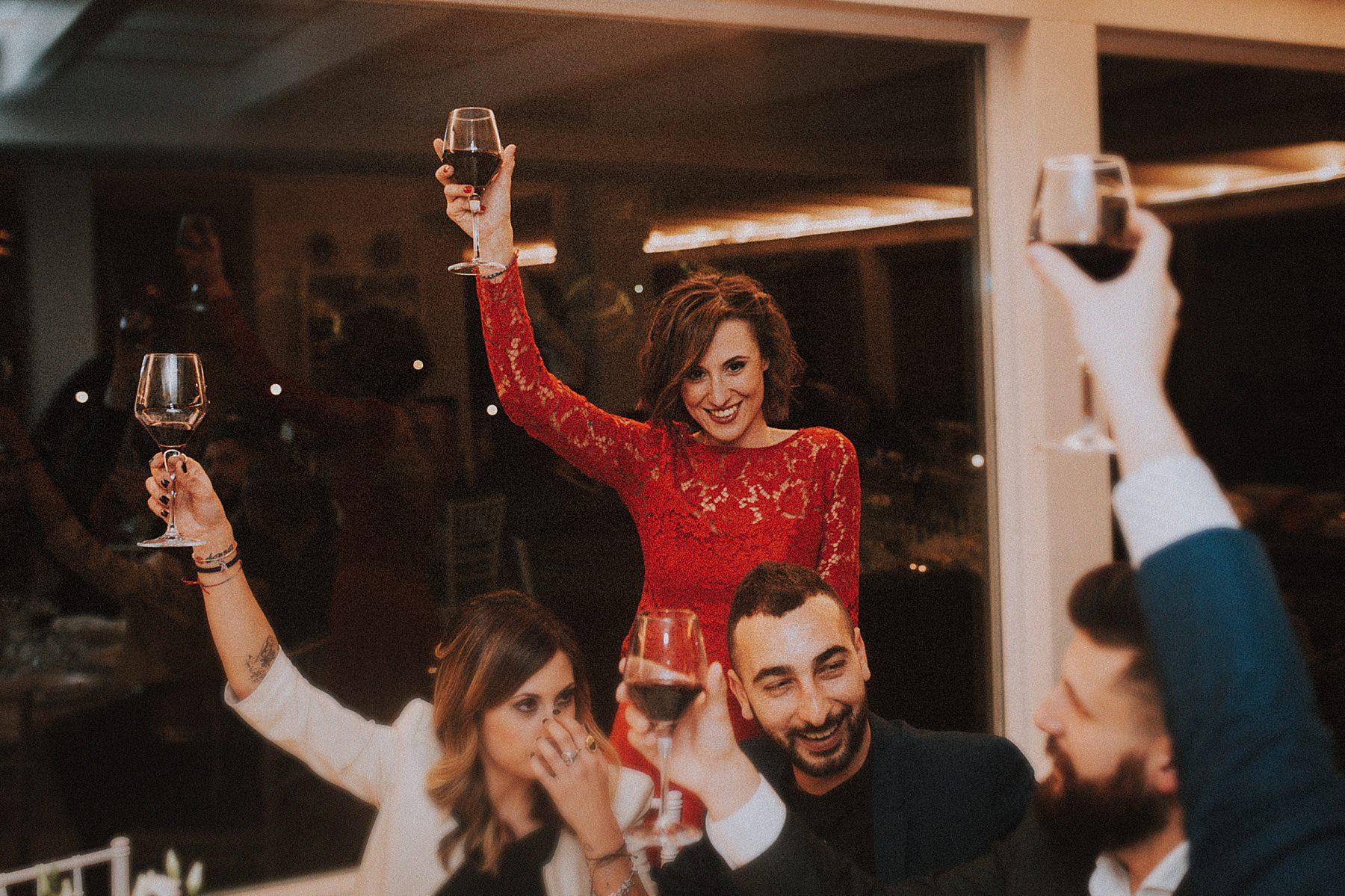 festeggiamenti al ricevimento del matrimonio nel Valdarno