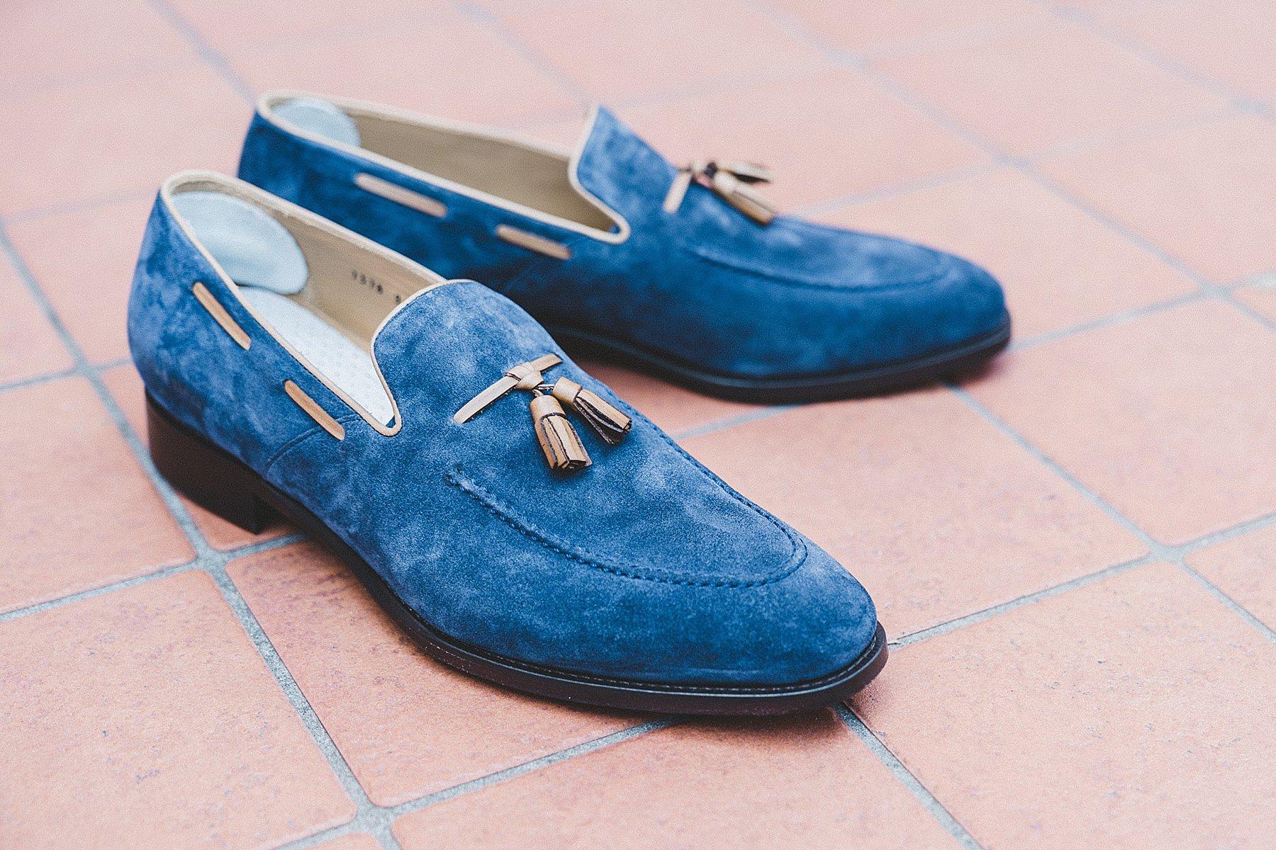 scarpe da sposo in camoscio blu
