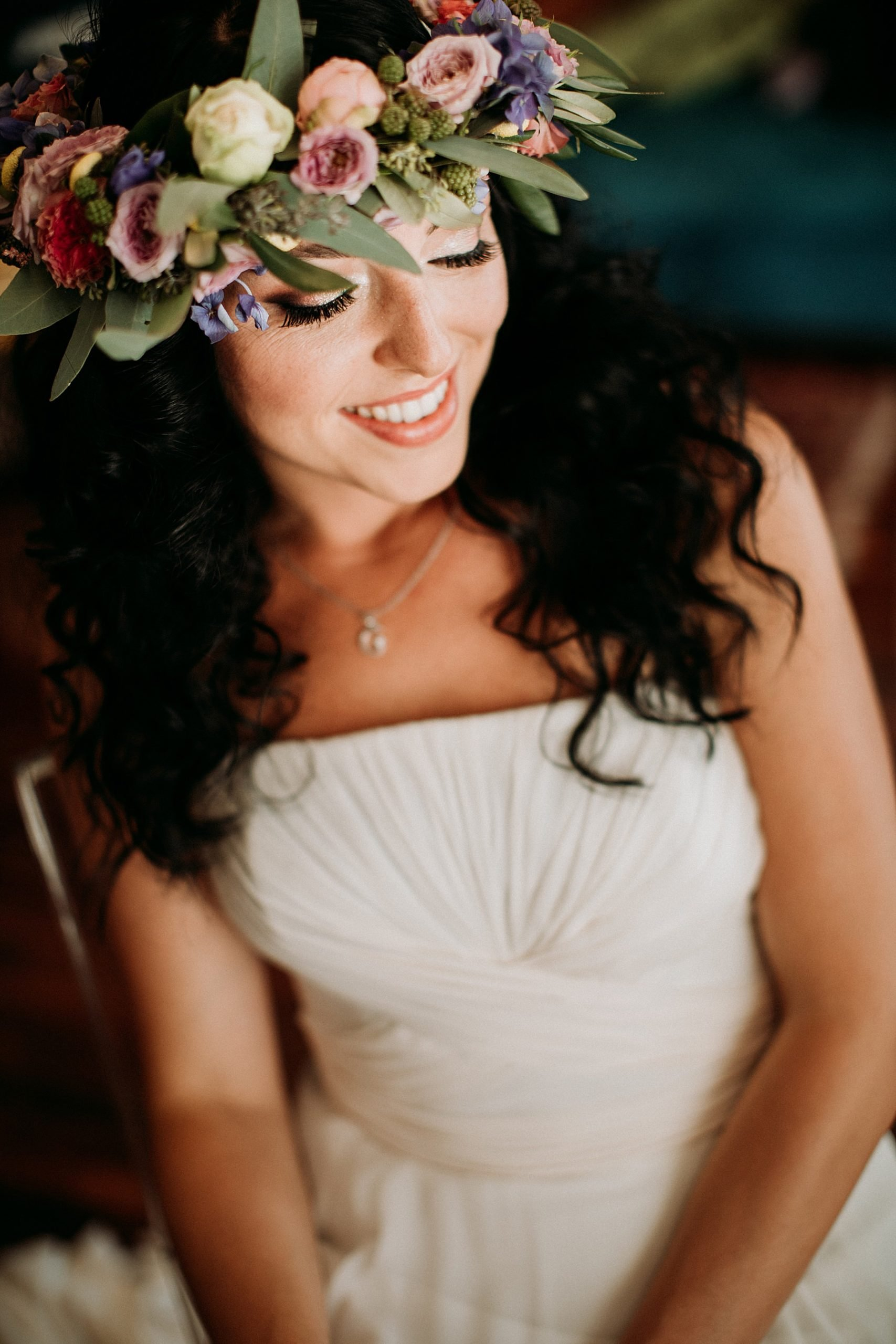 matrimonio a imola sposa con corona di fiori