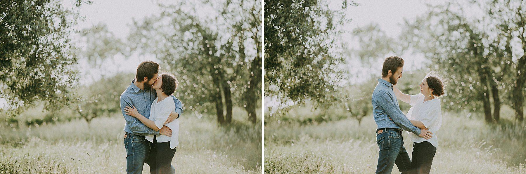 servizio fotografico di coppia in campagna
