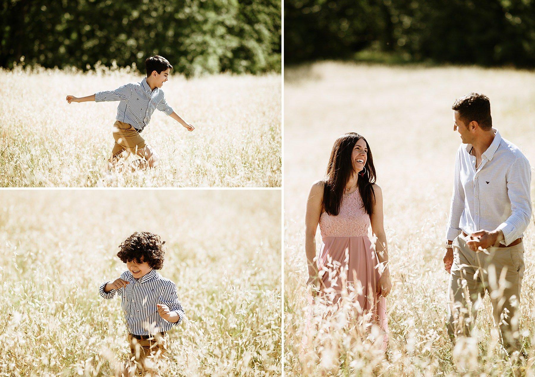 bambino che corre felice in un campo