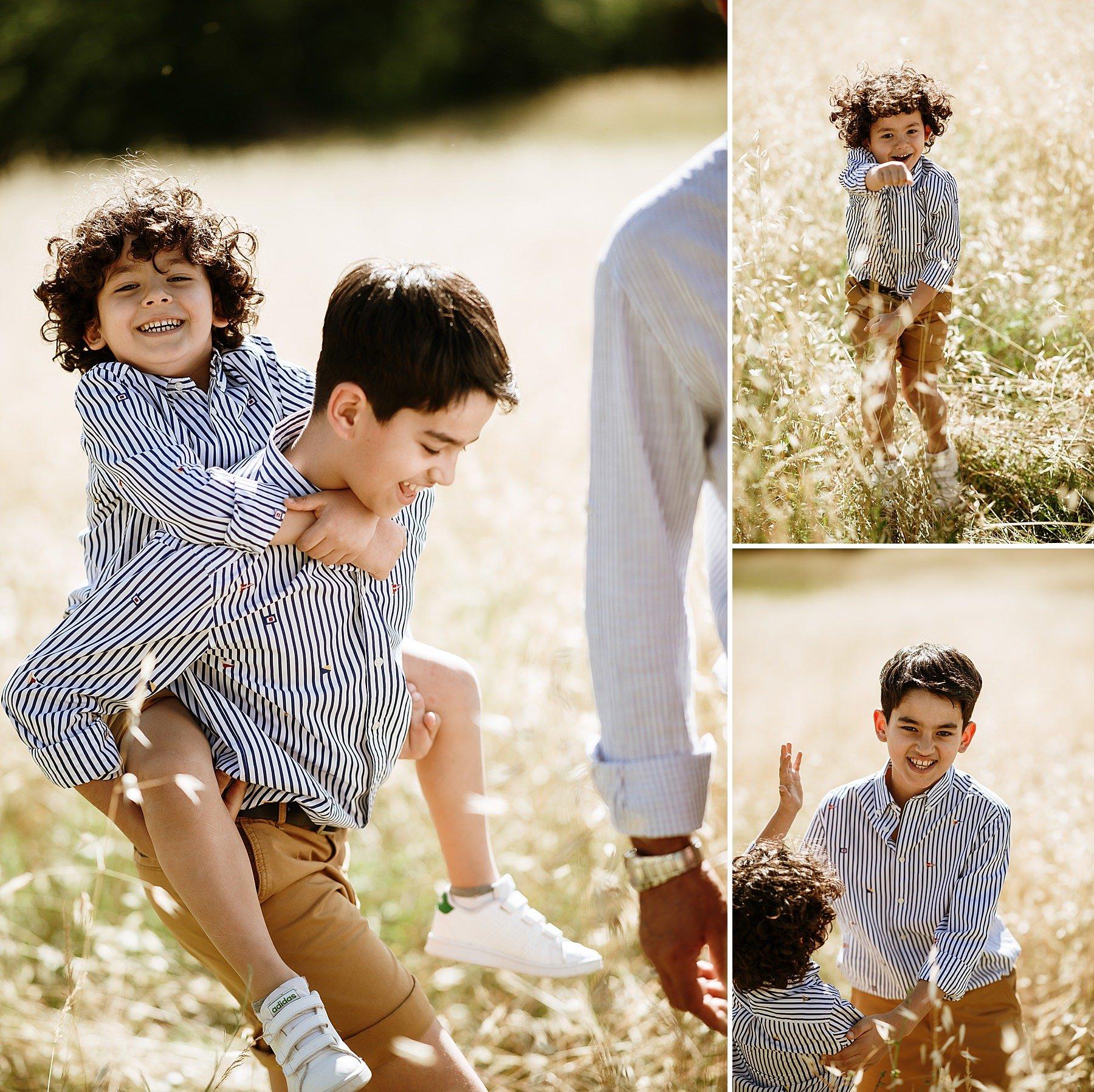 shooting di famiglia con bambini che corrono